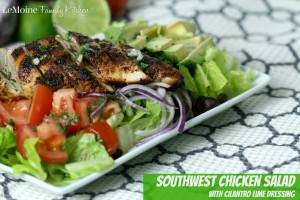 Southwest Chicken Salad with Cilantro Lime Dressing | LeMoine Family Kitchen . Perfectly seasoned grilled chicken atop a salad of romaine, red onion, tomato, black beans and avocado. A light bright delicious dressing to finish it off. Great healthy dish!