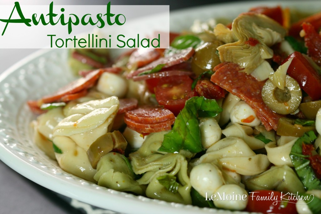 Antipasto Tortellini Salad | LeMoine Family Kitchen. Italian classics in a perfect for summer pasta salad. This couldn't be easier to make! A must for you're next BBQ!