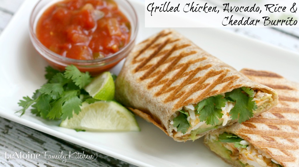 Grilled Chicken, Avocado, Rice & Cheddar Burrito | LeMoine Family Kitchen. Delicious and fresh flavors in this pressed burrito. The grilled chicken is perfectly spiced and perfect with the creamy avocado.