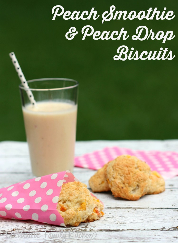 Peach Smoothie & Peach Drop Biscuits | LeMoine Family Kitchen. Summer peach time! Delicious peach, banana and yogurt smoothie AND easy peach drop biscuits!