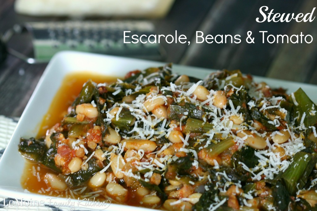 Stewed Escarole, Beans & Tomato  | LeMoine Family Kitchen . Simple, delicious rustic Italian side dish.