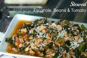 Stewed Escarole, Beans & Tomato | LeMoine Family Kitchen . Simple, delicious rustic Italian side dish.