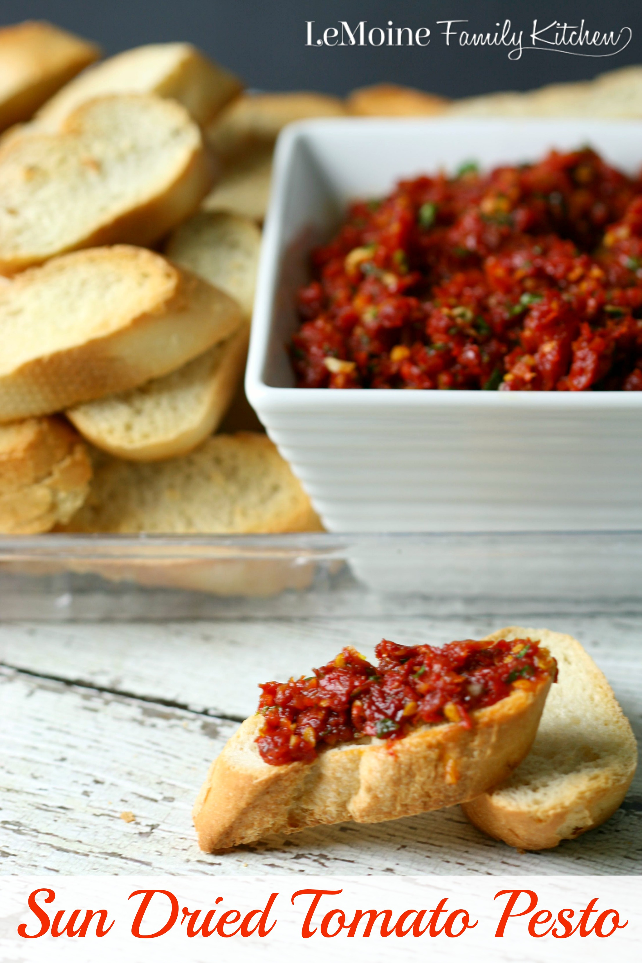 Sun Dried Tomato Pesto | LeMoine Family Kitchen ... Perfect to serve with crostini, tossed with pasta or on top of grilled chicken.