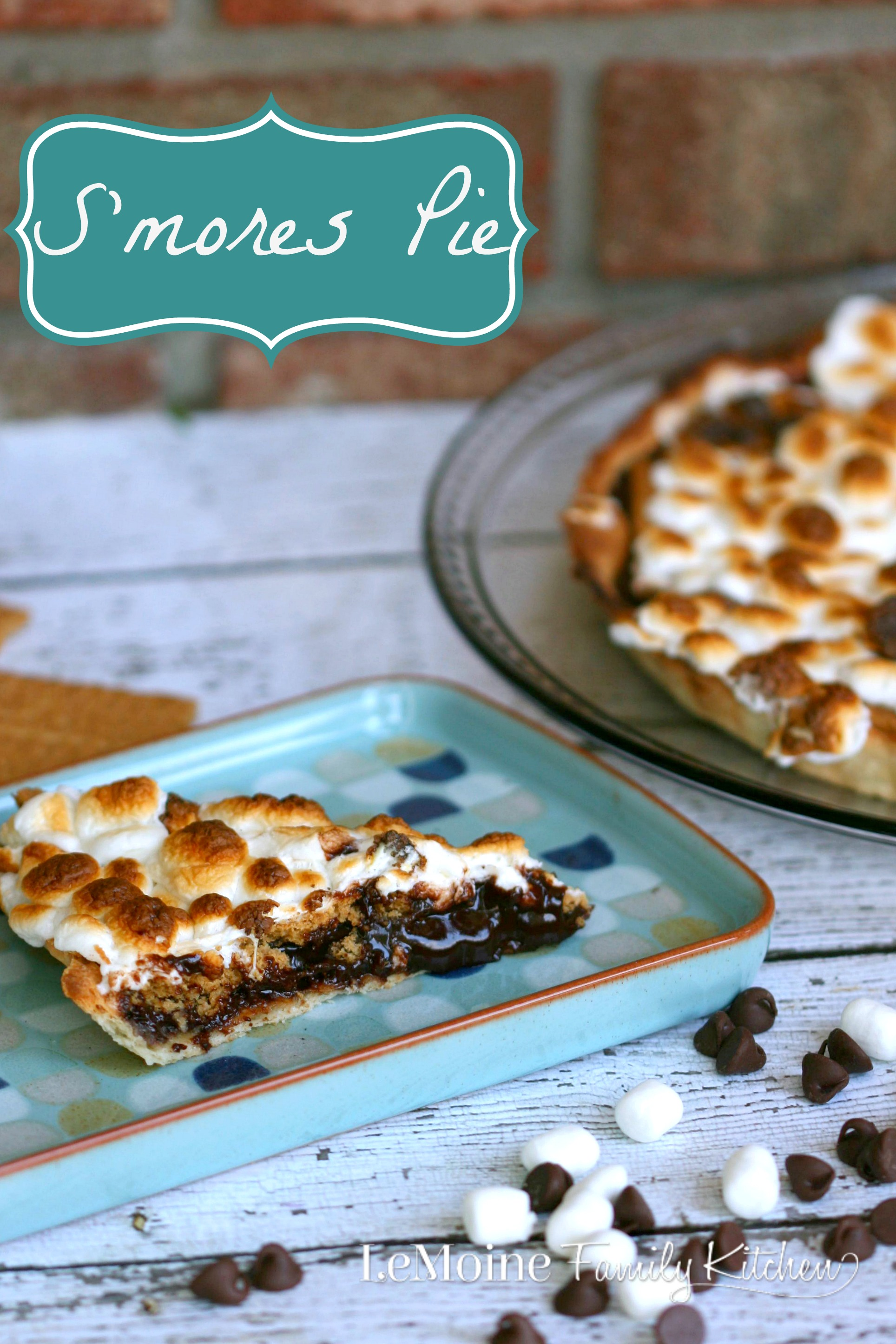 S'mores Pie | LeMoine Family Kitchen. The most amazing pie! Layers of chocolate ganache, graham cracker and perfectly toasted marshmallow! Absolutely heavenly!