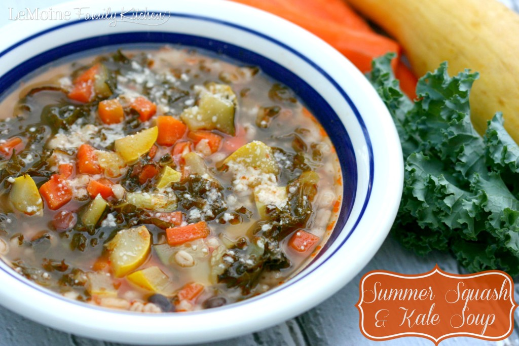 Summer Squash & Kale Soup | LeMoine Family Kitchen. Summer zucchini, squash, kale, beans and barley make for a delicious, hearty and healthy soup!