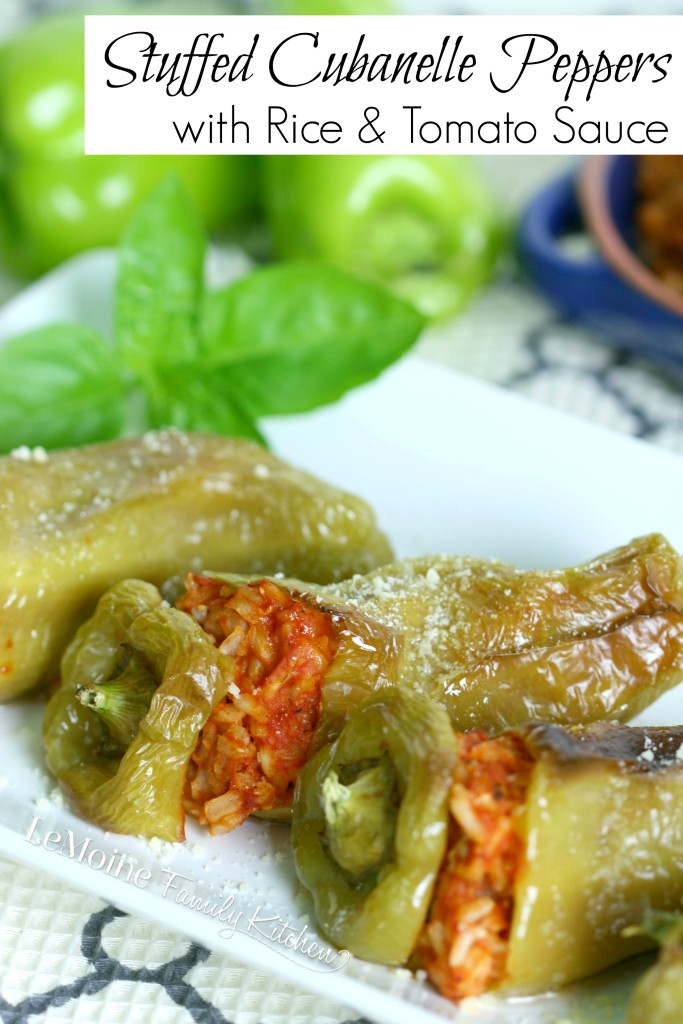 Stuffed Cubanelle Peppers with Rice & Tomato Sauce  | LeMoine Family Kitchen. Simple and delicious vegetarian friendly side dish.