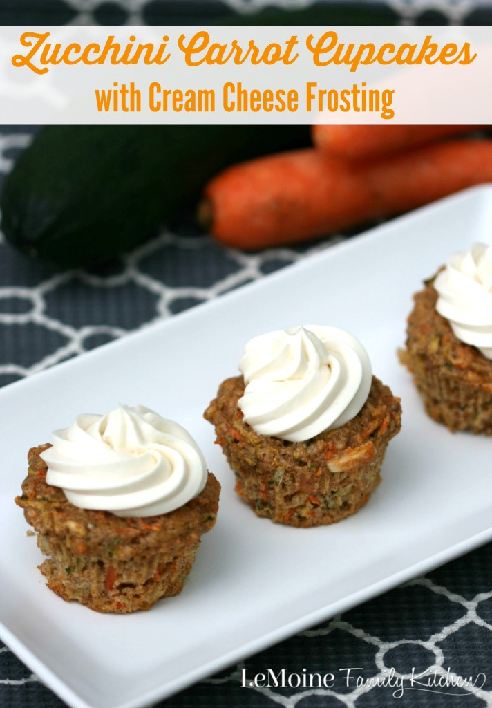 Zucchini Carrot Cupcakes with Cream Cheese Frosting  | LeMoine Family Kitchen