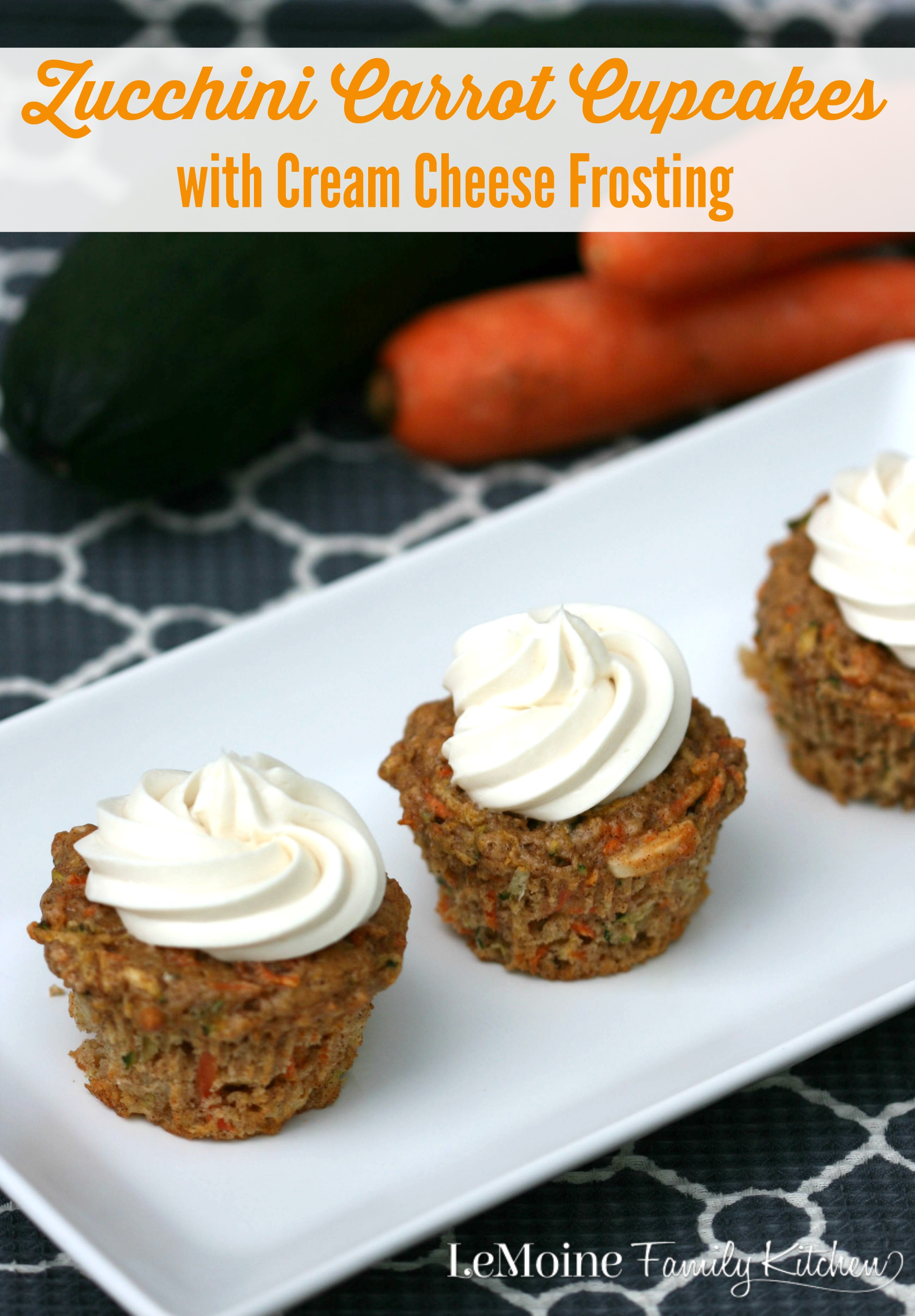 Zucchini Carrot Cupcakes with Cream Cheese Frosting | LeMoine Family Kitchen. Packed with zucchini & carrots, a hint of sweetness and topped with a perfect cream cheese frosting.