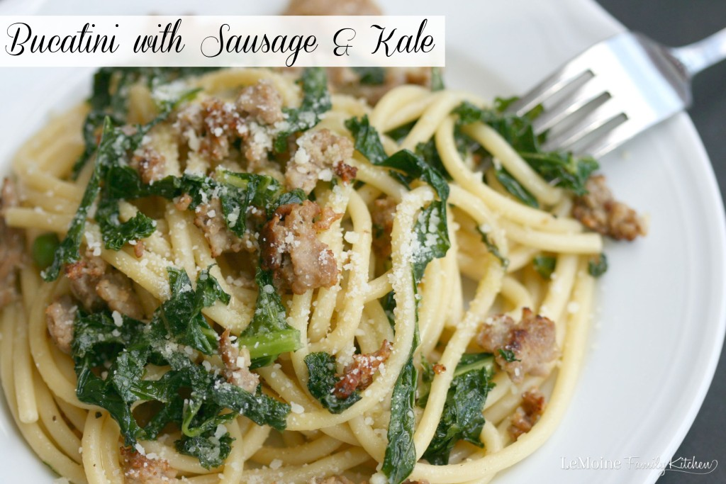 Bucatini with Sausage & Kale | LeMoine Family Kitchen . Incredible flavors in this easy 5 Ingredient Meal! Pasta perfection!