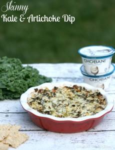 Skinny Kale & Artichoke Dip | LeMoine Family Kitchen. A lightened up version of a classic dip thanks to the use of Chobani Greek yogurt. Great flavor, less calories!