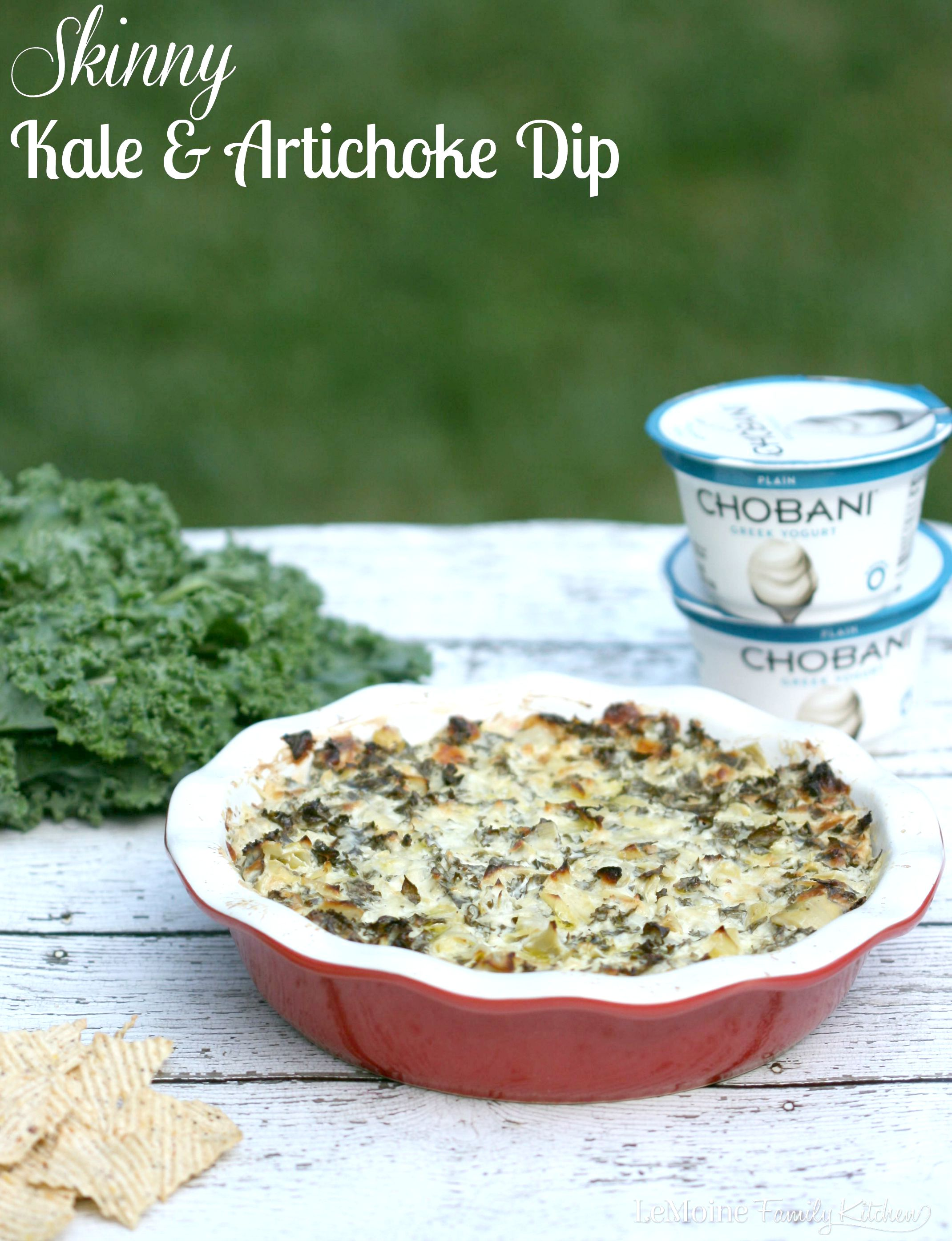 Skinny Kale & Artichoke Dip | LeMoine Family Kitchen. A lightened up version of a classic dip thanks to the use of Chobani Greek yogurt. Great flavor, less calories!