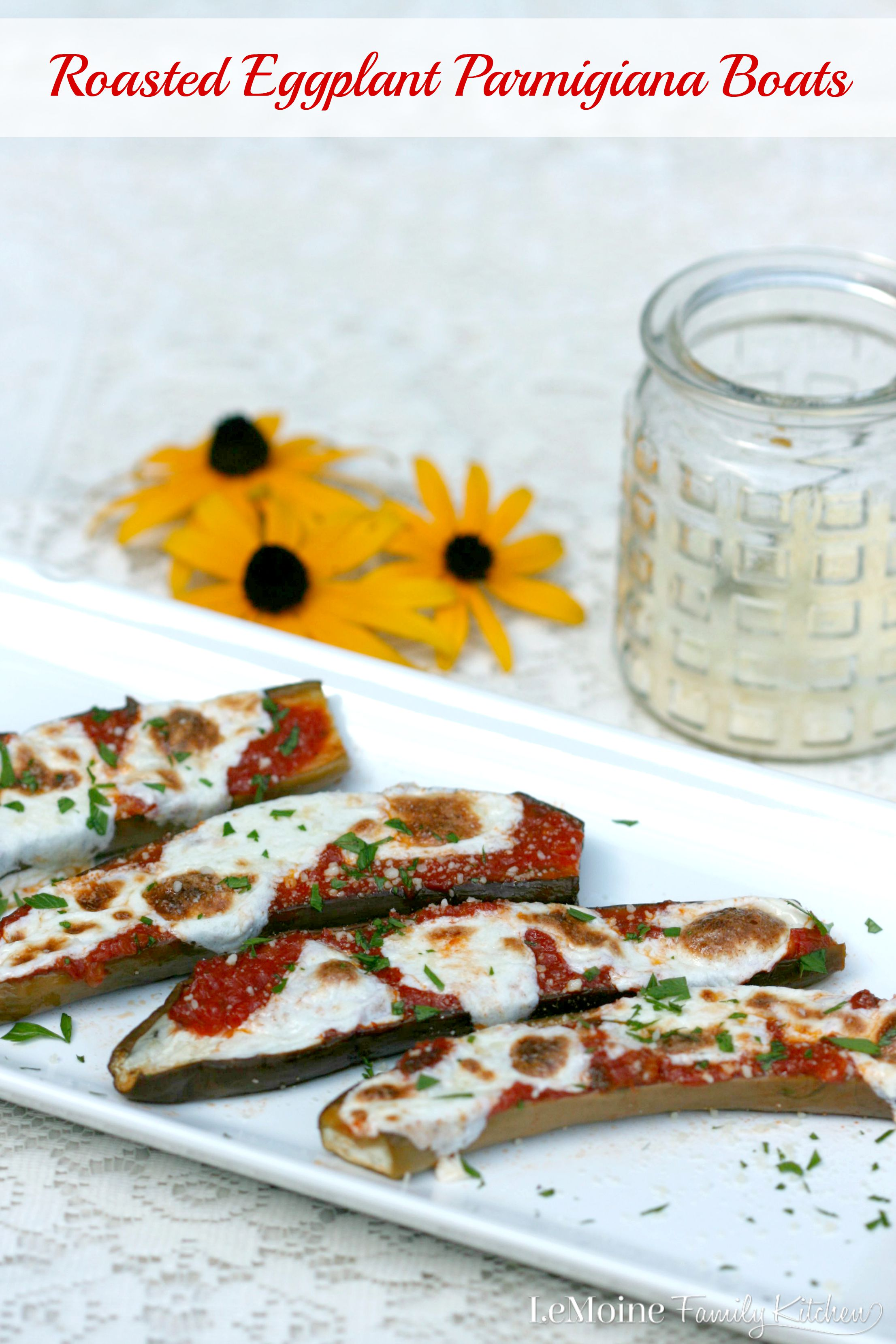 Roasted Eggplant Parmigiana Boats