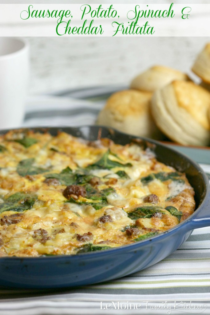 Sausage, Potato, Spinach & Cheddar Frittata | LeMoine Family Kitchen . With @Johnsonville breakfast sausage #backtoschoolbreakfast just got a whole lot easier. This is so easy to prepare and made ahead of time.