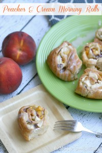 Peaches & Cream Morning Rolls | LeMoine Family Kitchen . Simple, perfectly sweet and just delicious! Crescent dough, cream cheese, fresh peaches and a little sugar. A simple vanilla glaze to finish it all off.