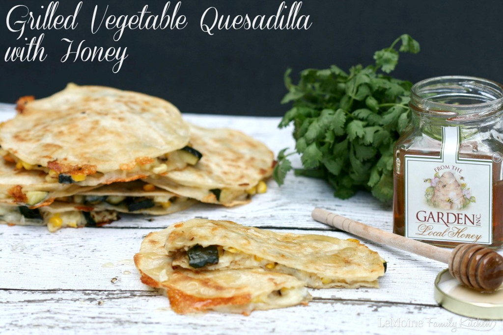 Grilled Vegetable Quesadilla with Honey | LeMoine Family Kitchen . A simple and delicious 5 ingredient meal. Packed with grilled corn, zucchini and cheddar. A drizzle of honey at the end adds the most wonderful sweetness.
