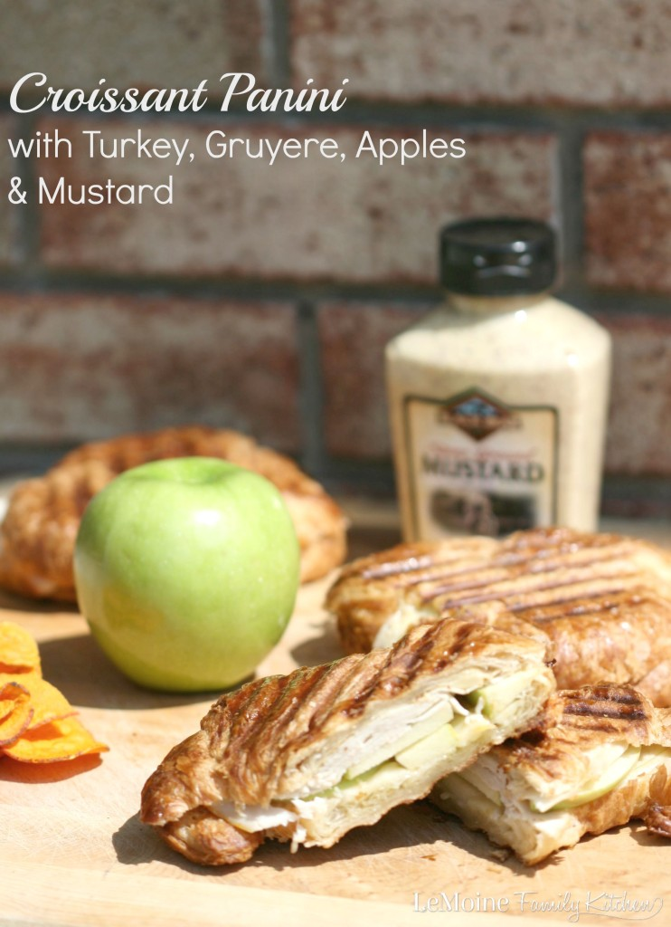 Croissant Panini with Turkey, Gruyere, Apples & Mustard | LeMoine Family Kitchen . Easy 5 ingredient meal with tons of flavor and so quick to throw together! A delicious panini!!