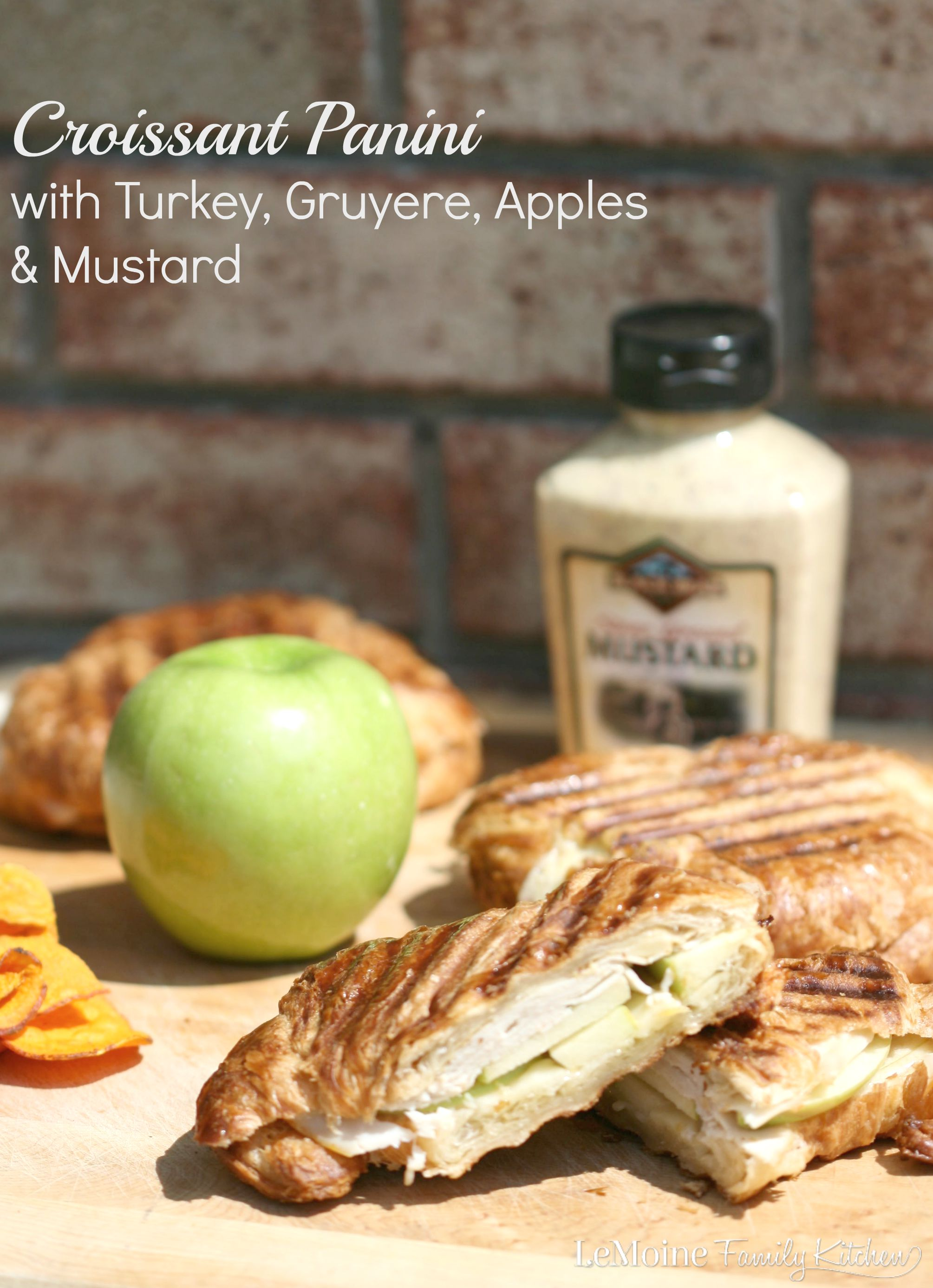 Croissant Panini with Turkey, Gruyere, Apples & Mustard | LeMoine Family Kitchen . Easy 5 ingredient meal with tons of flavor and so quick and easy! This is a delicious panini!!