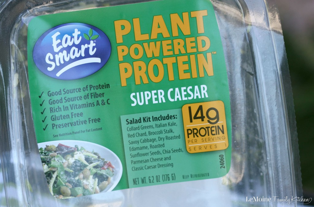 Plant Powered Protein :: Super Caesar Salad | LeMoine Family Kitchen . Incredibly healthy and flavorful salad kit from #EatSmartVeggies. This Super Caesar is packed with plant based protein like edamame, chia, dark leafy greens and more!