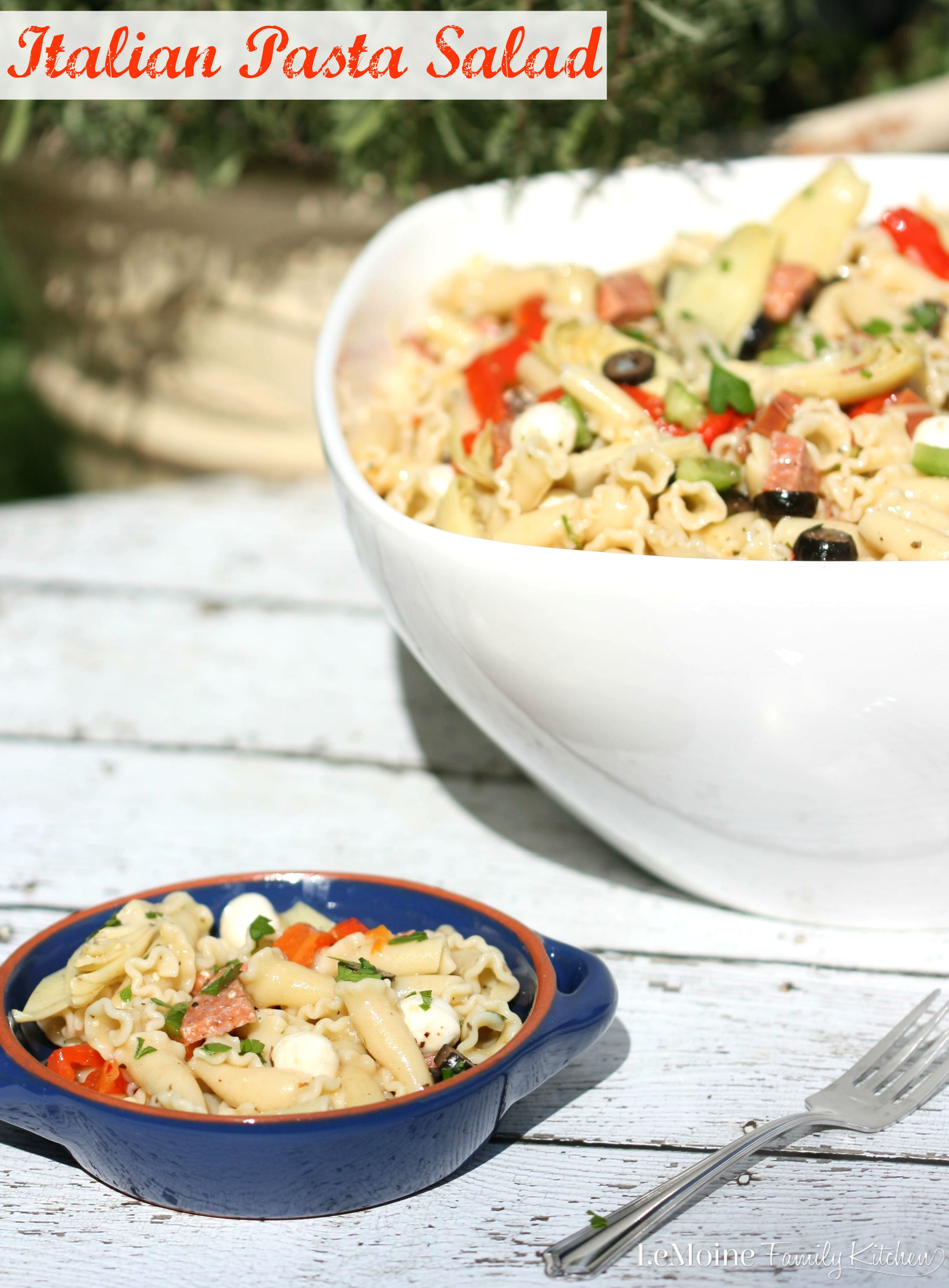 Italian Pasta Salad | LeMoine Family Kitchen . A classic side dish packed with flavor and super simple to throw together. This is always a huge hit at BBQs.