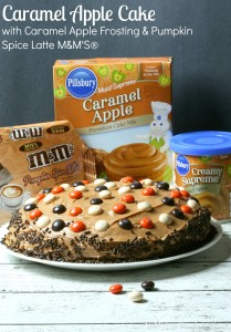 Caramel Apple Cake with Caramel Apple Frosting & Pumpkin Spice Latte M&M'S® | LeMoine Family Kitchen . Fall is here and I am so excited about the flavors that the season brings! Especially pumpkin spice latte and caramel apples! This cake has you covered!
