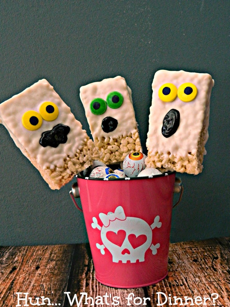 Krispie Rice Cereal Ghost Pops | LeMoine Family Kitchen. My pal Cindy From Hun Whats for Dinner is sharing her fun Halloween treats! The kids are going to love it!!