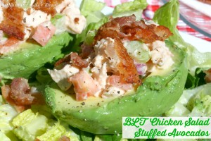 BLT Chicken Salad Stuffed Avocados   LeMoine Family Kitchen . Healthy, incredibly delicious and easy meal. The colors, textures and flavors all work so great together. And besides, bacon makes everything better!
