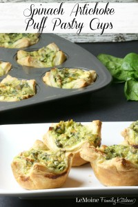 Spinach Artichoke Puff Pastry Cups   LeMoine Family Kitchen . These puff pastry cups are so easy to make and such great flavor! Perfect party food appetizer!
