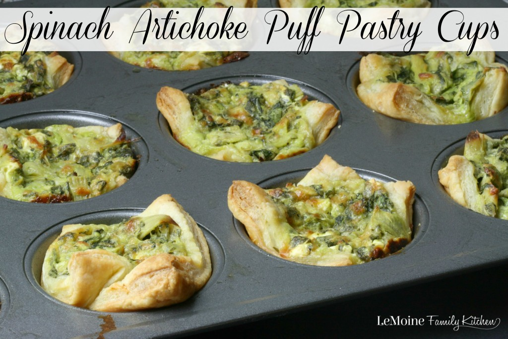 Spinach Artichoke Puff Pastry Cups | LeMoine Family Kitchen . These puff pastry cups are so easy to make and such great flavor! Perfect party food appetizer!