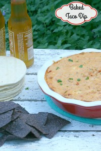 Baked Taco Dip | LeMoine Family Kitchen ... Perfectly cheesy, spicy and creamy. This dip is the perfect party food, especially for a football game with friends. #FreakyFriday