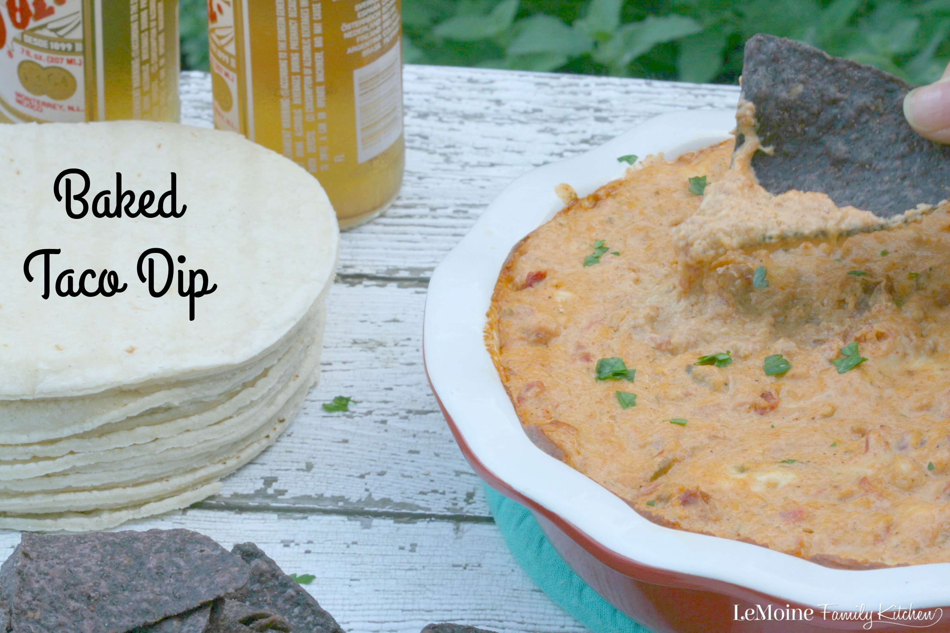 Baked Taco Dip | LeMoine Family Kitchen ... Perfectly cheesy, spicy and creamy. This dip is the perfect party food, especially for a football game with friends.