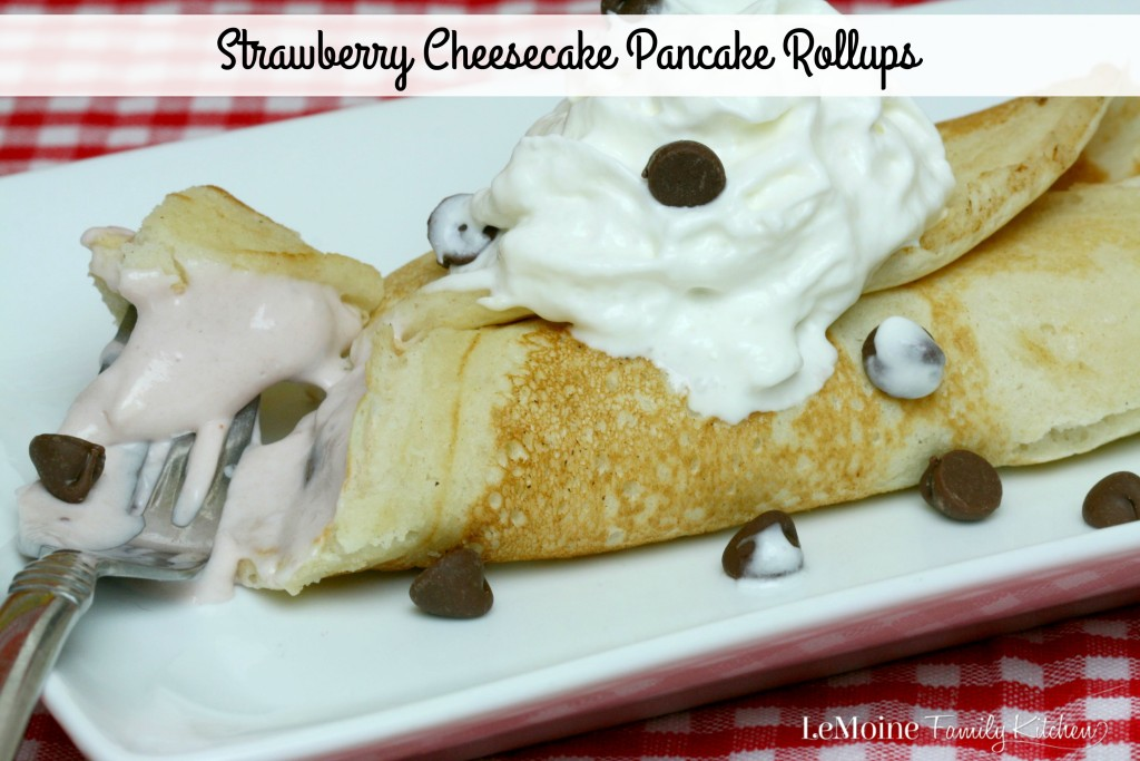 Strawberry Cheesecake Pancake Rollups | LeMoine Family Kitchen. Bring the family together for a very special breakfast with the help of Aunt Jemima Pancake Mix & Syrup. #12DaysOfPancakes