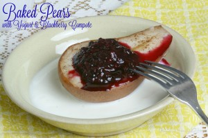 Baked Pears with Yogurt & Blackberry Compote   LeMoine Family Kitchen . A simple recipe that is just perfect for breakfast or brunch. Simple baked pears overtop vanilla yogurt and topped with a simple blackberry compote.