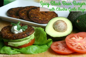Spicy Black Bean Burger with Cilantro Garlic Mayo   LeMoine Family Kitchen . MorningStar Farms Black Bean Burgers are the perfect healthy meal for these busy days. This is a GREAT burger!! #FallWithATwist #CollectiveBias #ad