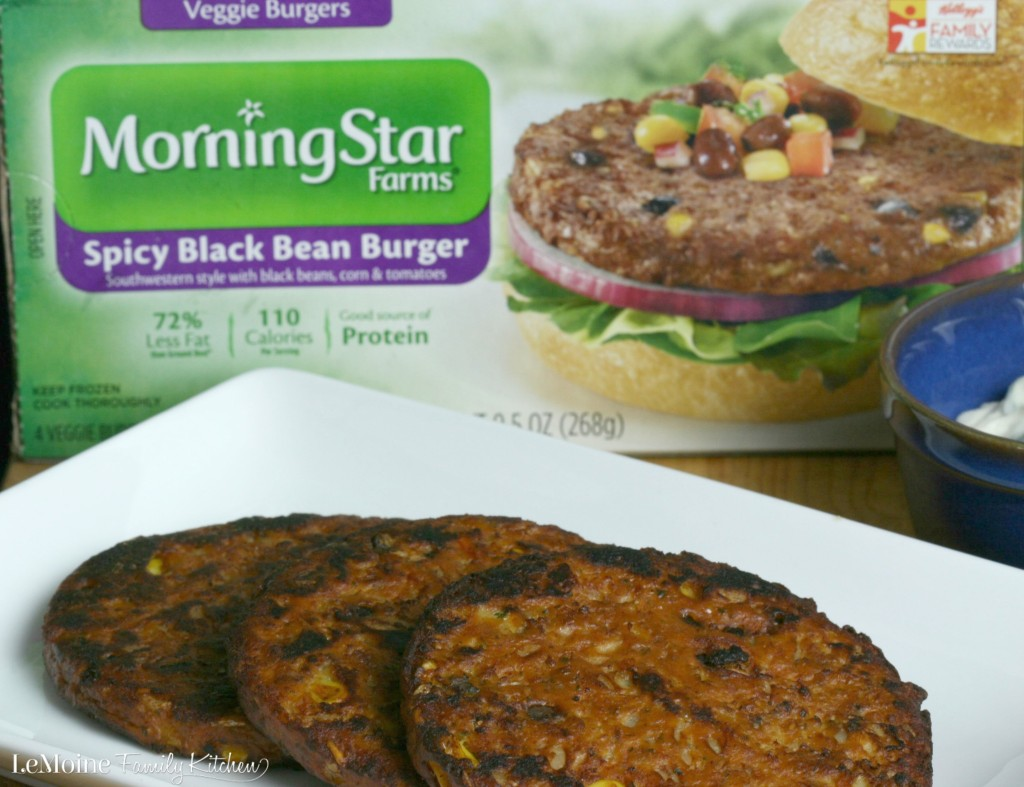 Spicy Black Bean Burger with Cilantro Garlic Mayo | LeMoine Family Kitchen . MorningStar Farms Black Bean Burgers are the perfect healthy meal for these busy days. This is a GREAT burger!! #FallWithATwist #CollectiveBias #ad