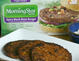 Spicy Black Bean Burger with Cilantro Garlic Mayo | LeMoine Family Kitchen . Morning Star Black Bean Burgers are the perfect healthy meal for these busy days. This is a GREAT burger!! #FallWithATwist #CollectiveBias #ad