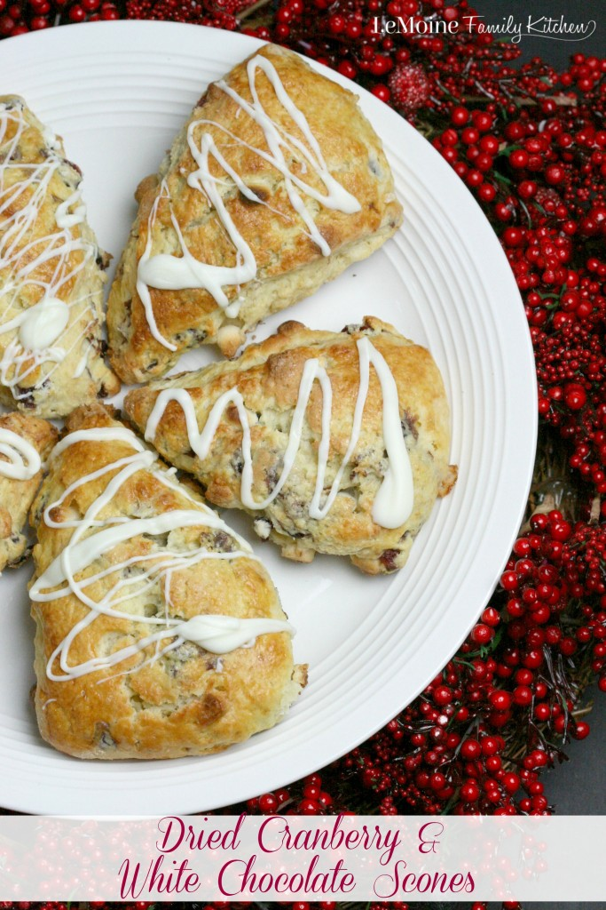 Dried Cranberry & White Chocolate Scones | LeMoine Family Kitchen . Craisins® Dried Cranberries & white chocolate chips make for a fabulous scone! Perfect for breakfast, brunch or with an afternoon cup of coffee. #ad #BetterWithCraisins