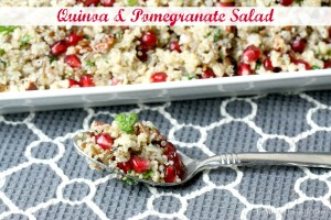 Quinoa & Pomegranate Salad | LeMoine Family Kitchen . A healthy, flavorful and bright salad. A great side dish for the holidays too!