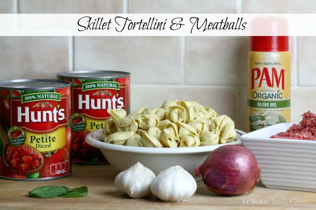 Skillet Tortellini & Meatballs | LeMoine Family Kitchen . #YesYouCAN create a delicious, easy homemade meals even during the busy holiday season! Italian meatballs lightly fried using PAM spray, a quick and fresh tomato sauce with Hunts canned tomatoes and some tortellini to complete the meal. This is Italian made easy! #ad