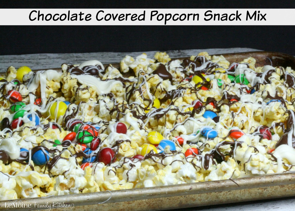 Chocolate Covered Popcorn Snack Mix | LeMoine Family Kitchen . Lets #MakeItAMovieNight with this fantastic sweet & salty treat. Everyone is going to love it! #ad