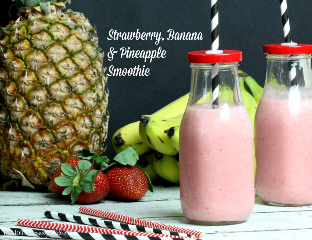 Strawberry, Banana & Pineapple Smoothie | LeMoine Family Kitchen. This fresh fruit & yogurt smoothie is DELICIOUS! Whether enjoying with breakfast or in the afternoon, this is a great healthy smoothie.