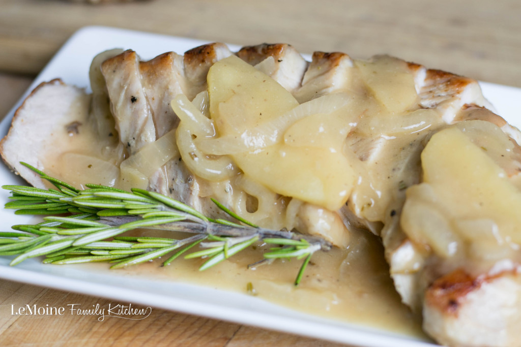 Pork Tenderloin with an Apple-Onion Gravy | LeMoine Family Kitchen .  Simply seasoned pork tenderloin slathered in a delicious apple and onion gravy! SO GOOD!