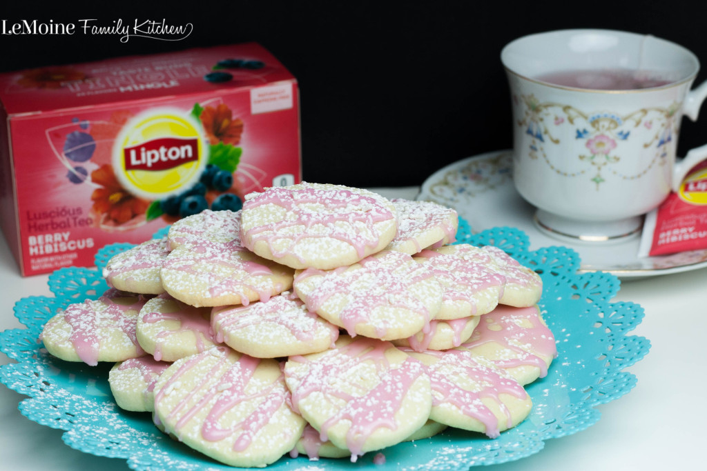 Berry Hibiscus Glazed Shortbread Cookie PLUS How to Throw a Perfect Brunch | LeMoine Family Kitchen . An absolutely delicious easy cookie recipe plus everything you need to know to throw a great brunch! #LiptonTeaTime #Sponsored