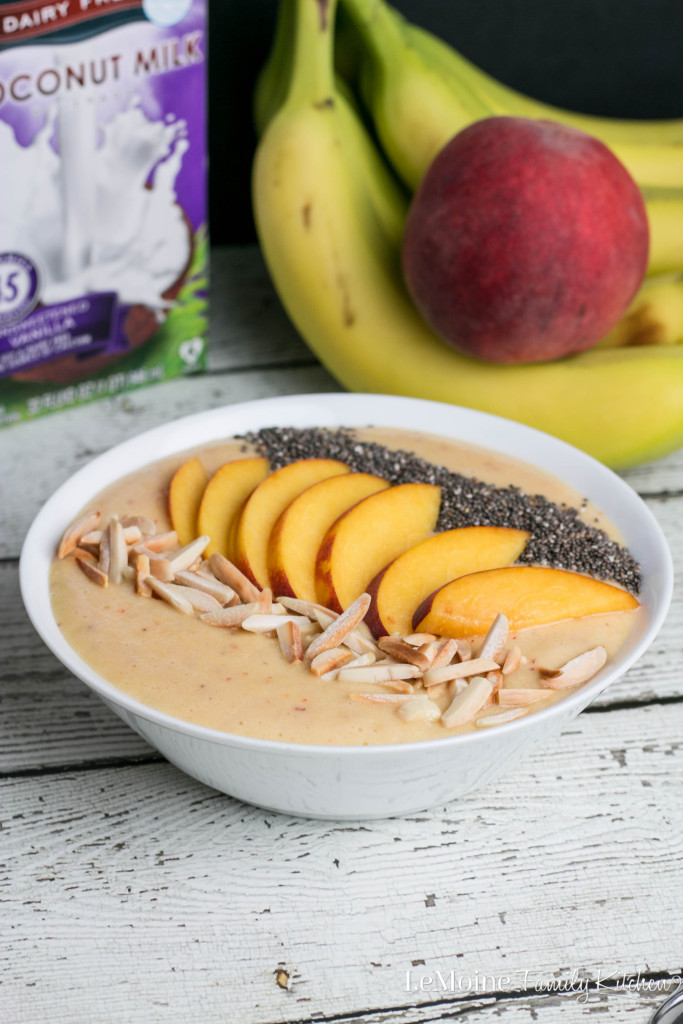 Peach Smoothie Bowl | LeMoine Family Kitchen . Start your morning off STRONG with this power packed smoothie bowl. Healthy & so delicious!