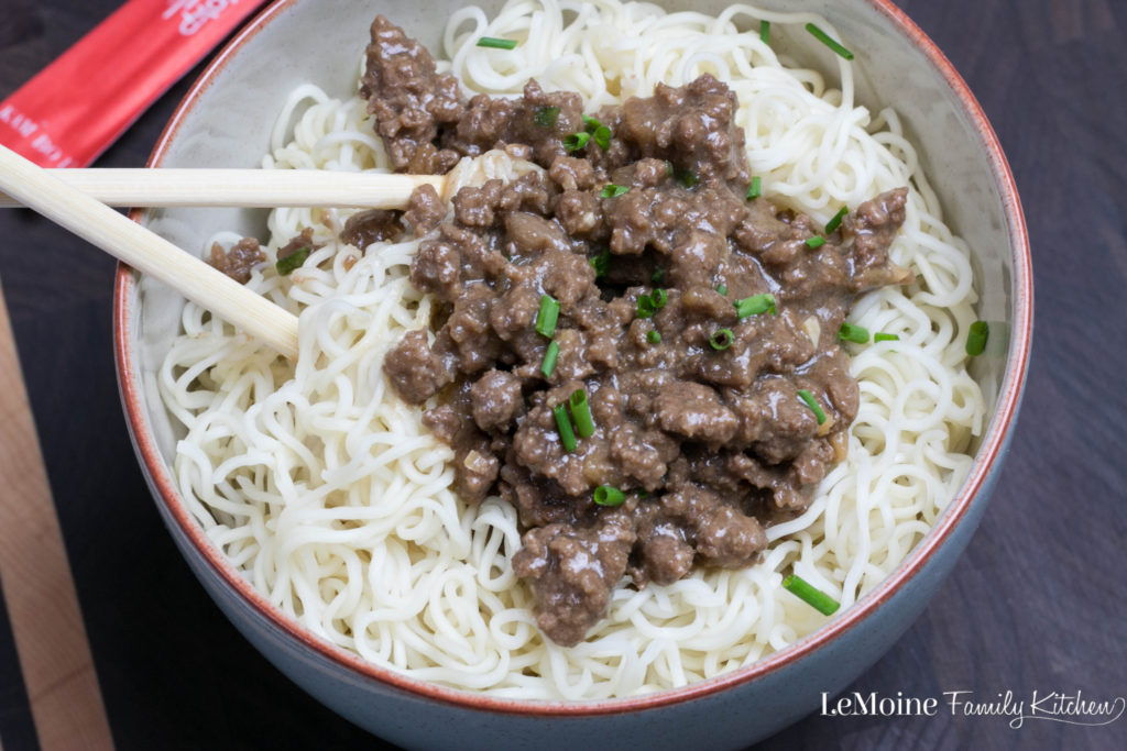 Asian Beef & Noodles | LeMoine Family Kitchen . A really quick and flavorful Asian inspired dish. Lean ground beef in a simple sauce served over Chinese noodles. Great weeknight dinner!