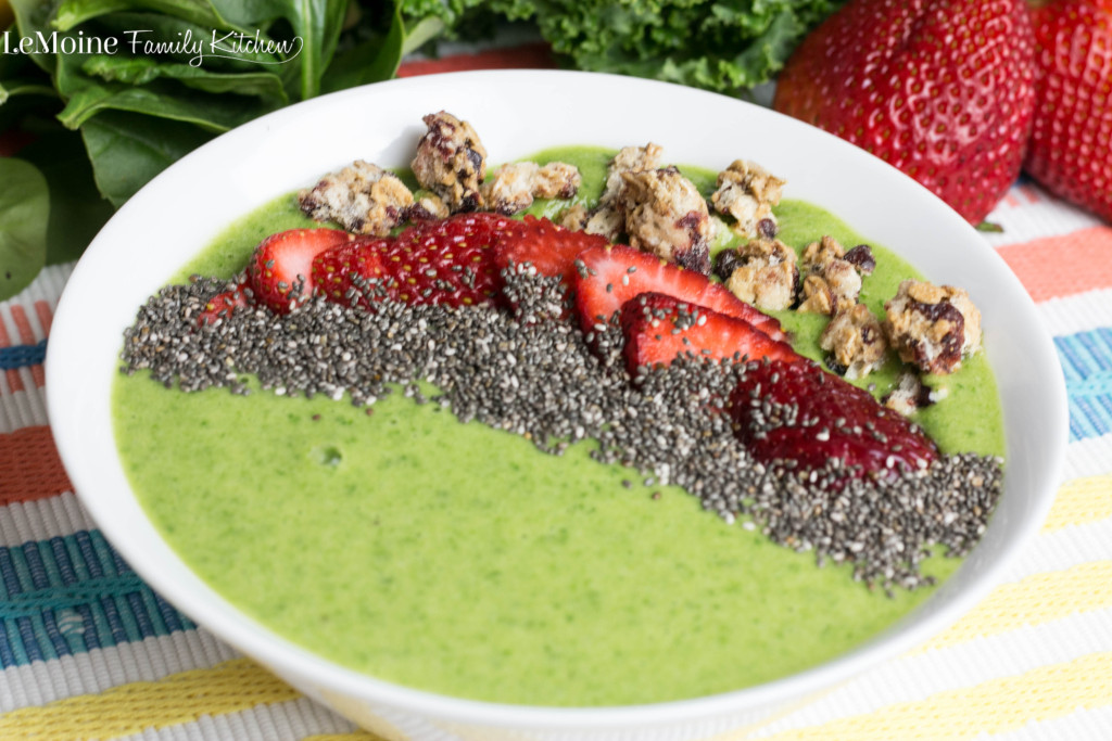Green Power Smoothie Bowl | LeMoine Family Kitchen . Start your morning with this delicious, green power packed smoothie bowl! Kale, spinach, pineapple and coconut milk make this the perfect vegan friendly, clean eating breakfast!