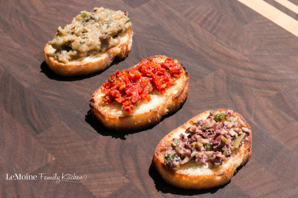 Trio of Crostini. These are a few of my favorite party appetizers! They are so easy to make and are so flavorful! Grilled crostini with 3 unique toppings... always a huge hit!
