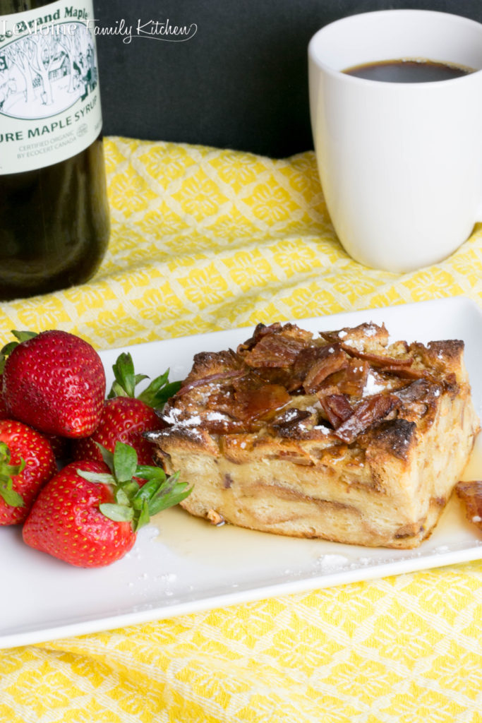 Maple Bacon French Toast Bake! Are you all drooling too? This is one spectacular weekend breakfast dish right here. A little sweet a little salty and a whole lot delicious! Crisp bacon and real maple syrup is a combo made in foodie heaven.