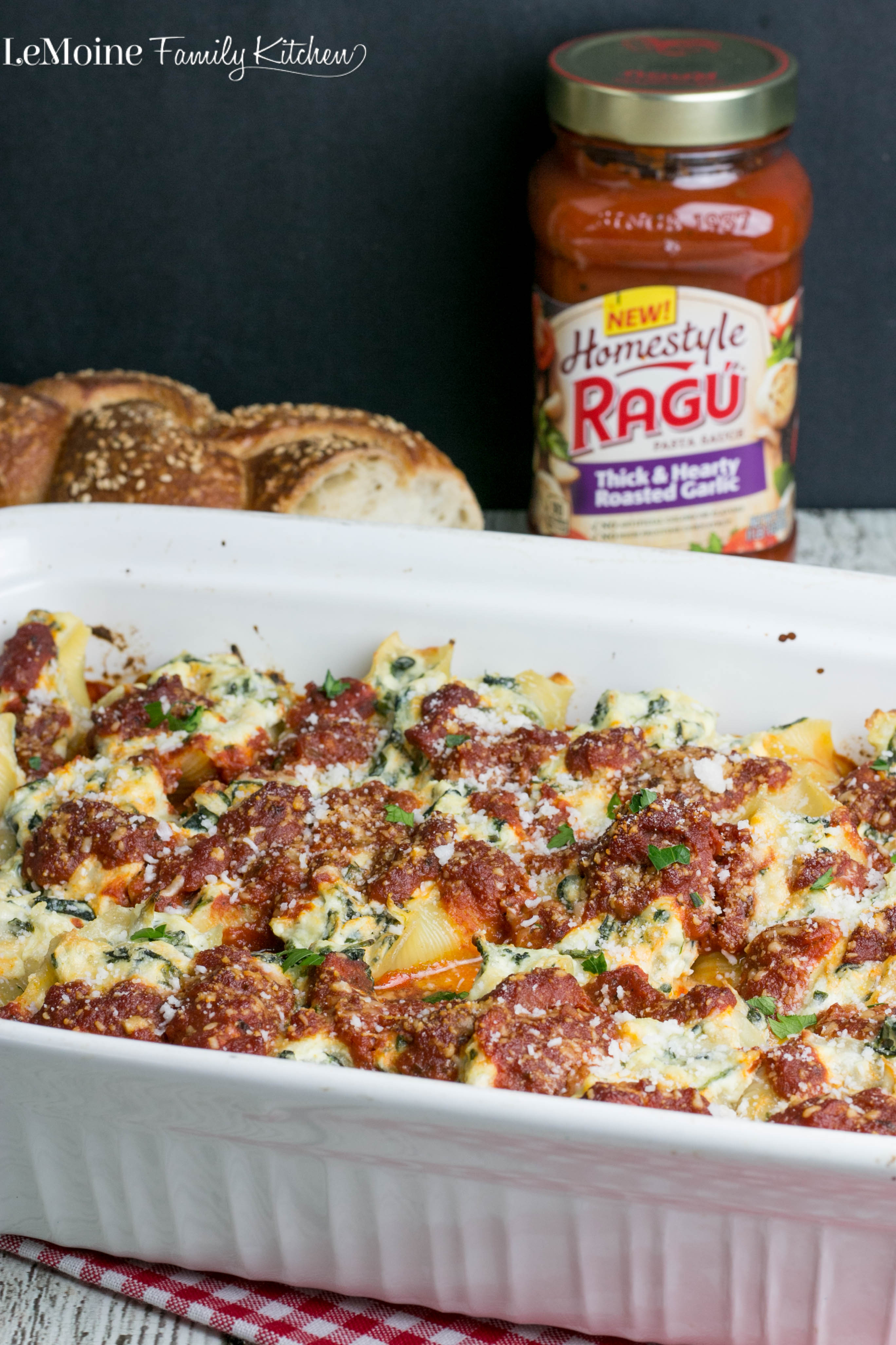 Spinach Artichoke Stuffed Shells. This recipe is certainly #SimmeredinTradition with the new Ragu #HomestyleSauces. The filling is cheesy and so flavorful! This is a perfect easy family meal. #ad
