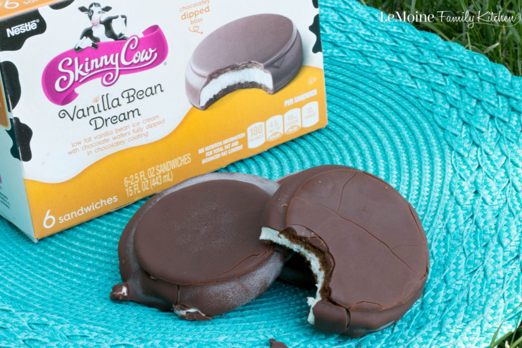 Summer Indulgence :: Skinny Cow Chocolatey Dipped Ice Cream Sandwiches. Grab a few boxes, share with the guy in your life and enjoy this delicious summer treat!