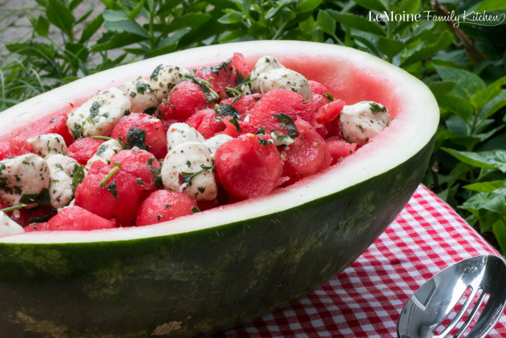 Watermelon Mozzarella Salad . 2 ingredients, super easy and absolutely delicious!! A perfectly refreshing summer salad!